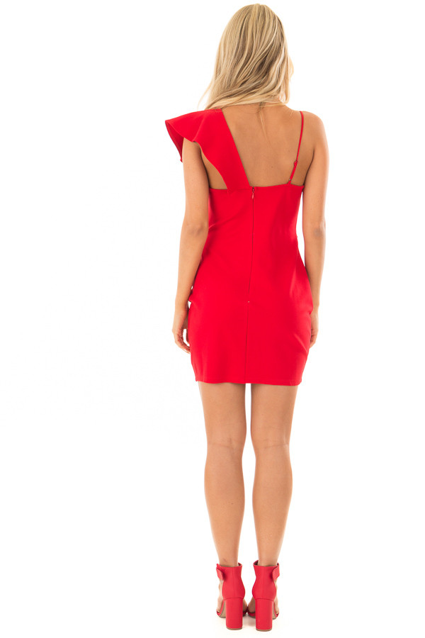 Lipstick Red Fitted Dress with Ruffle Overlay back full body