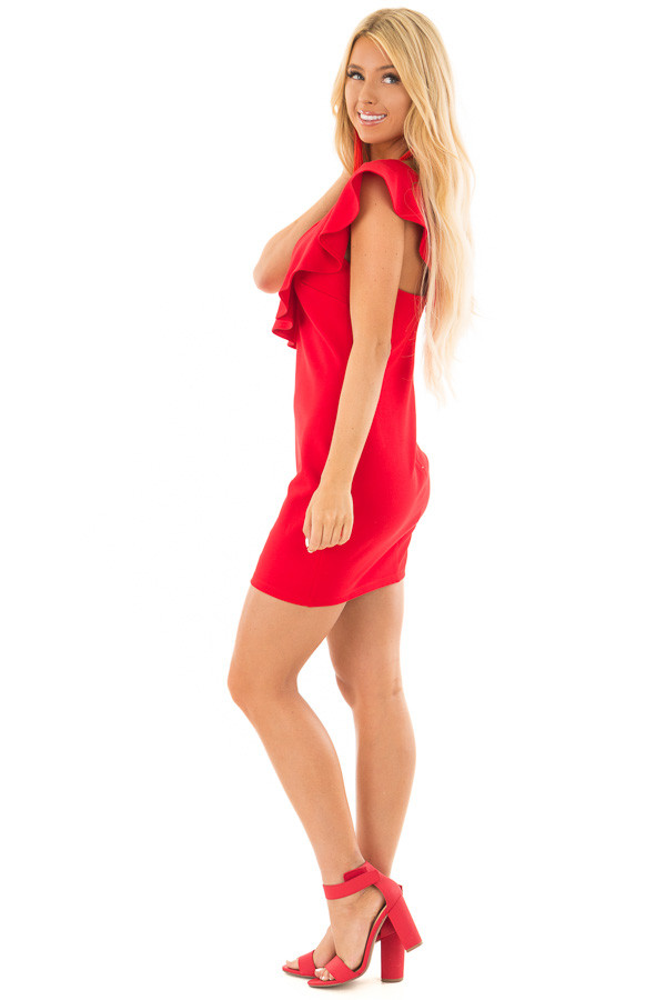 Lipstick Red Fitted Dress with Ruffle Overlay side full body