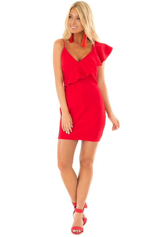 Lipstick Red Fitted Dress with Ruffle Overlay front full body