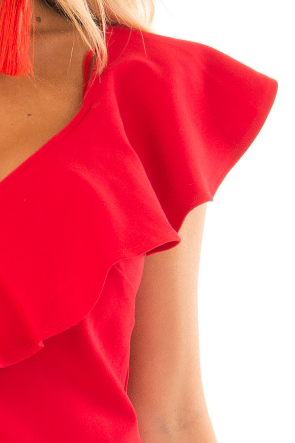 Lipstick Red Fitted Dress with Ruffle Overlay detail