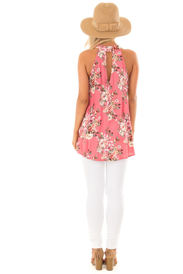 Punch Pink Floral Print Halter Tank with Keyhole Back back full body