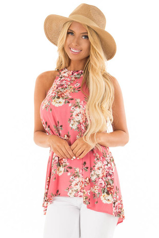 Punch Pink Floral Print Halter Tank with Keyhole Back front close up