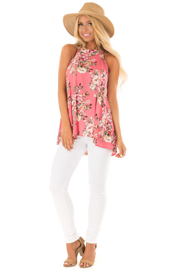 Punch Pink Floral Print Halter Tank with Keyhole Back front full body
