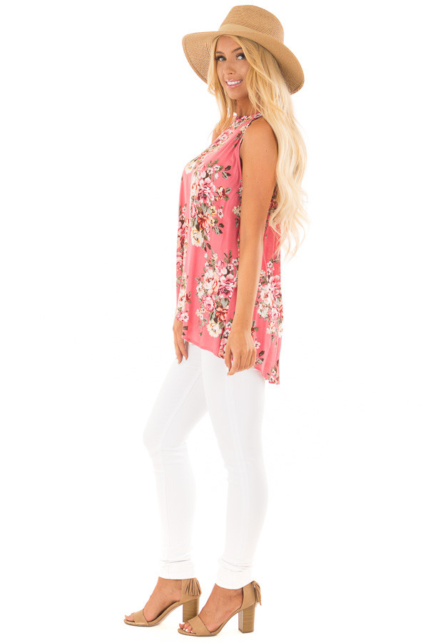 Punch Pink Floral Print Halter Tank with Keyhole Back side full body
