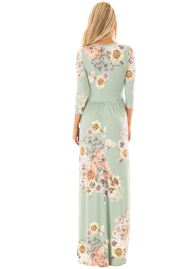 Mint Super Soft Floral Print Maxi Dress with Side Pockets back full body