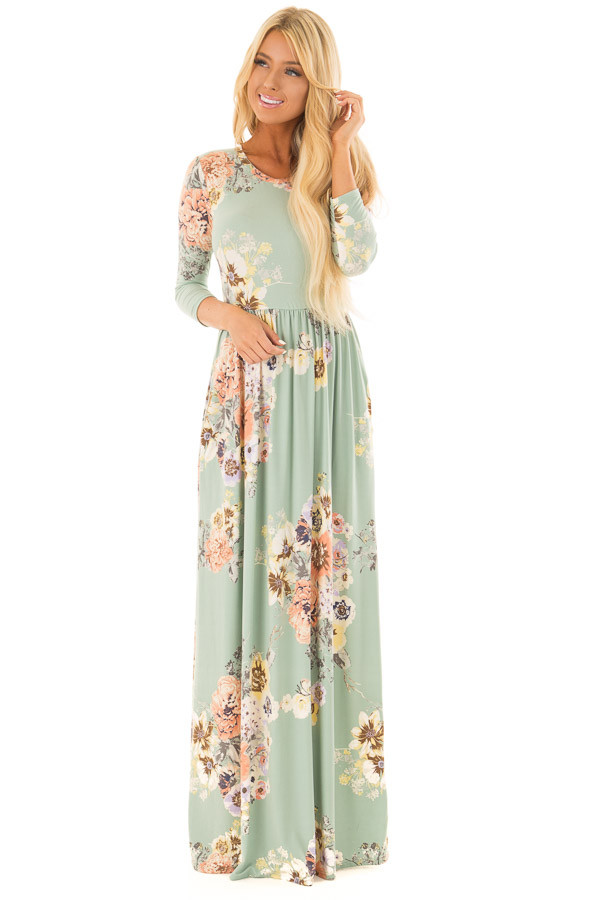 Mint Super Soft Floral Print Maxi Dress with Side Pockets front full body