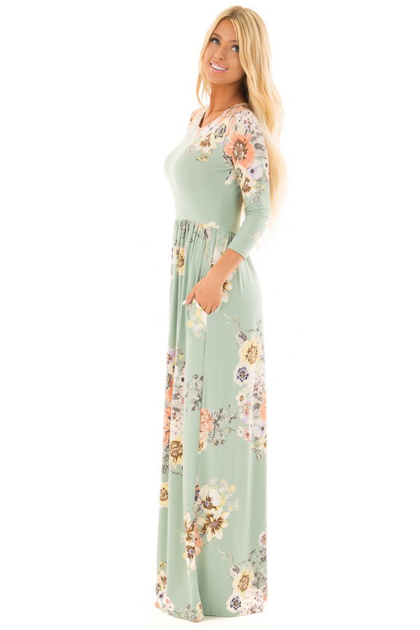 Mint Super Soft Floral Print Maxi Dress with Side Pockets side full body