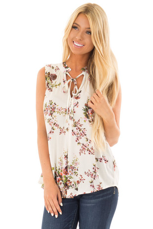 Ivory Floral Print Tank Top with Tie Neckline front close up