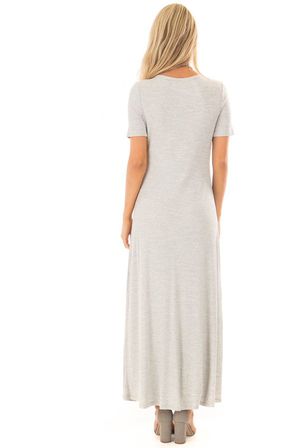 Heather Grey Ribbed Knit Maxi Dress with Snaps back full body