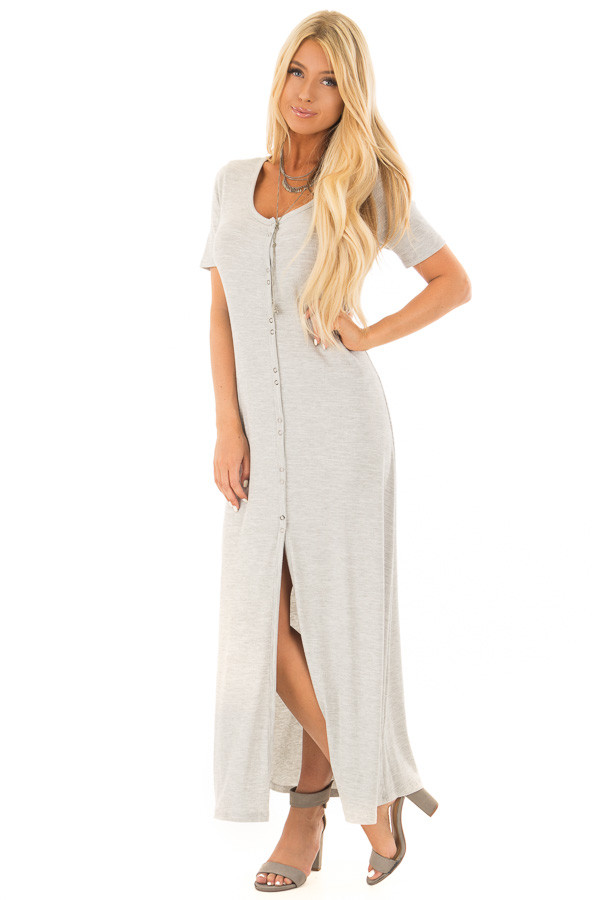 Heather Grey Ribbed Knit Maxi Dress with Snaps front full body
