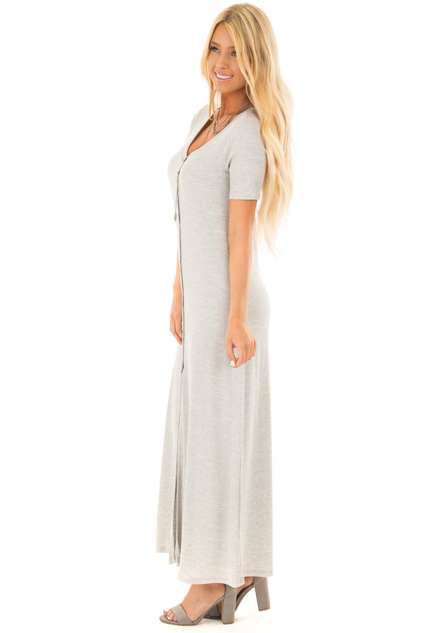 Heather Grey Ribbed Knit Maxi Dress with Snaps side full body