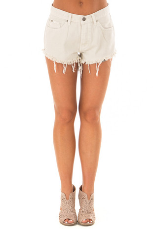Light Beige Shorts with Frayed Hemline front view