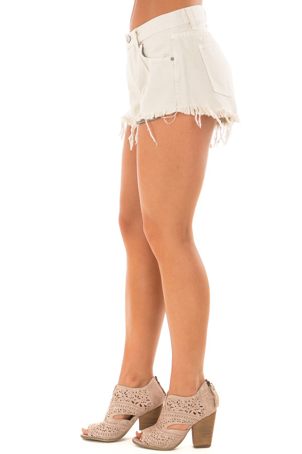 Light Beige Shorts with Frayed Hemline side view