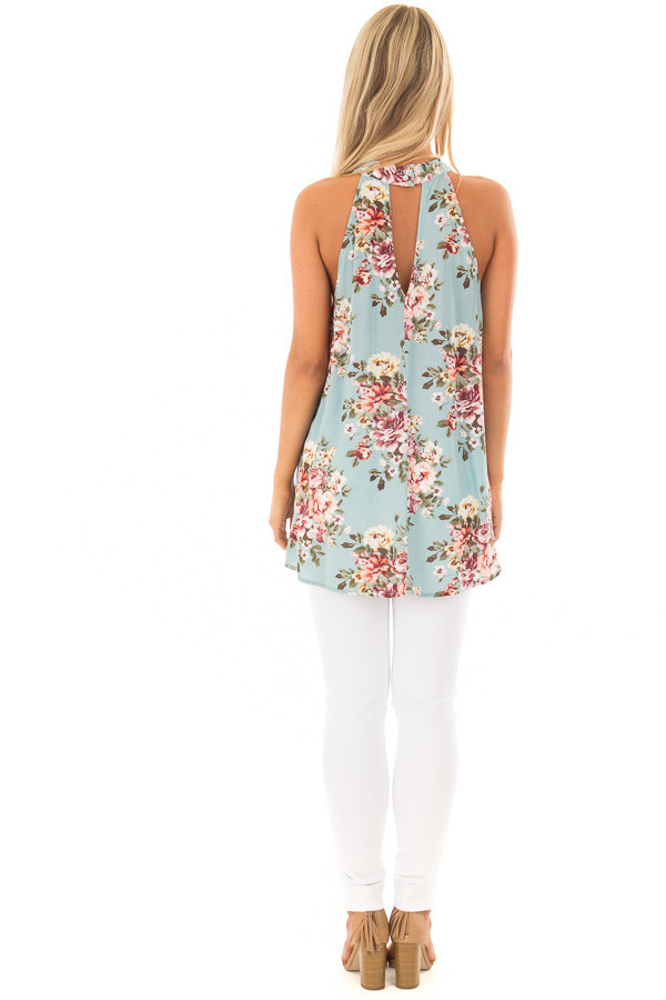 Ocean Blue Floral Print Halter Tank with Keyhole Back back full body