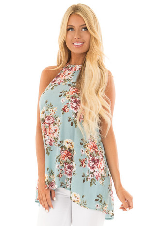 Ocean Blue Floral Print Halter Tank with Keyhole Back front close up