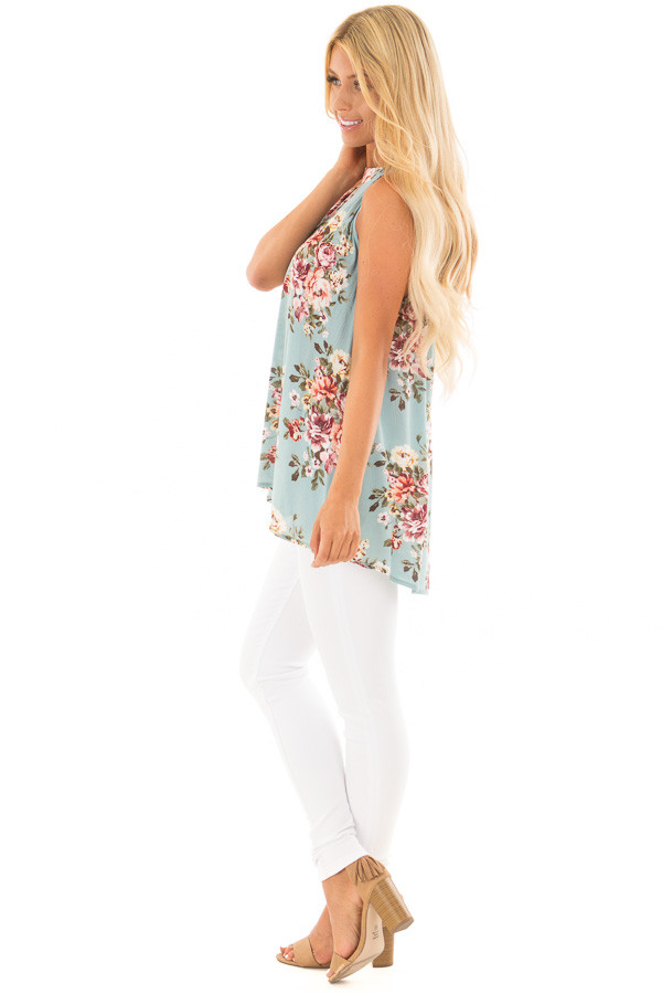Ocean Blue Floral Print Halter Tank with Keyhole Back side full body