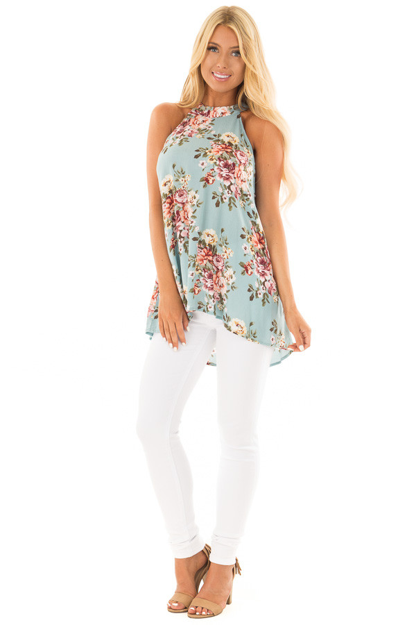 Ocean Blue Floral Print Halter Tank with Keyhole Back front full body