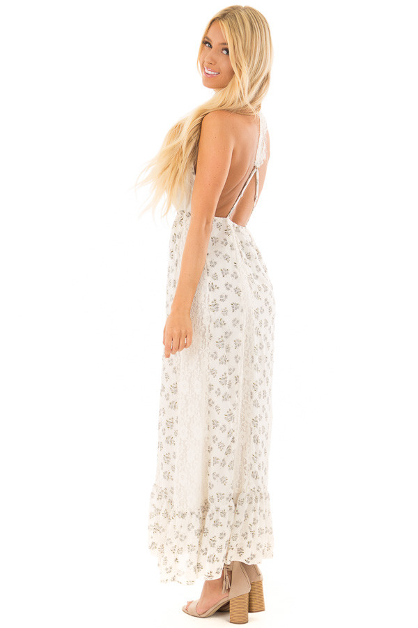 Ivory Floral Print Maxi Dress with Lace Details back full body