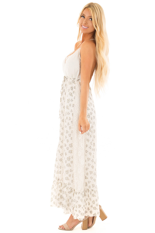 Ivory Floral Print Maxi Dress with Lace Details side full body