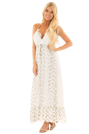 Ivory Floral Print Maxi Dress with Lace Details front full body