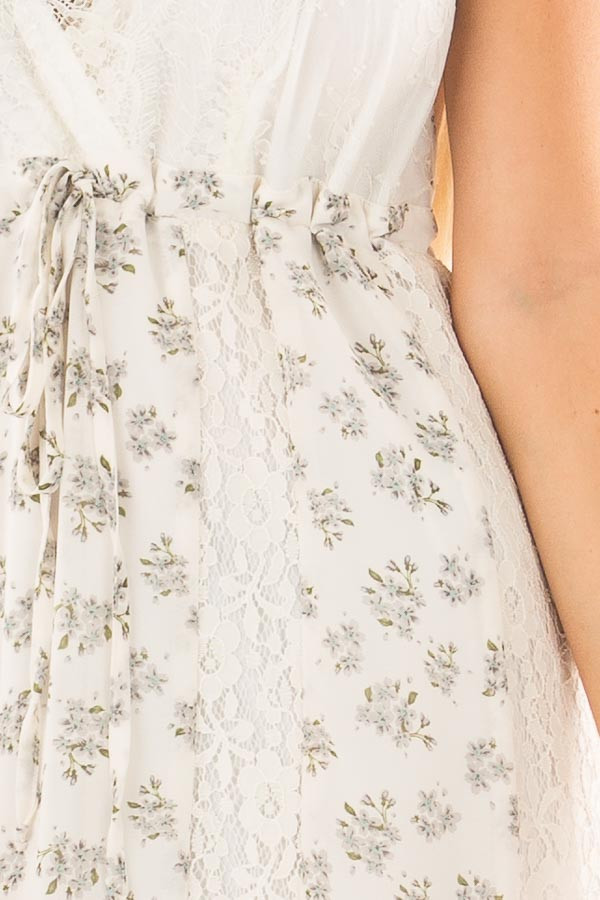 Ivory Floral Print Maxi Dress with Lace Details detail