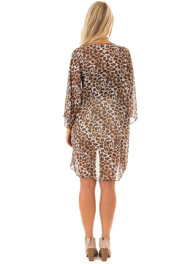 Brown Leopard Print Sheer Kimono back full body