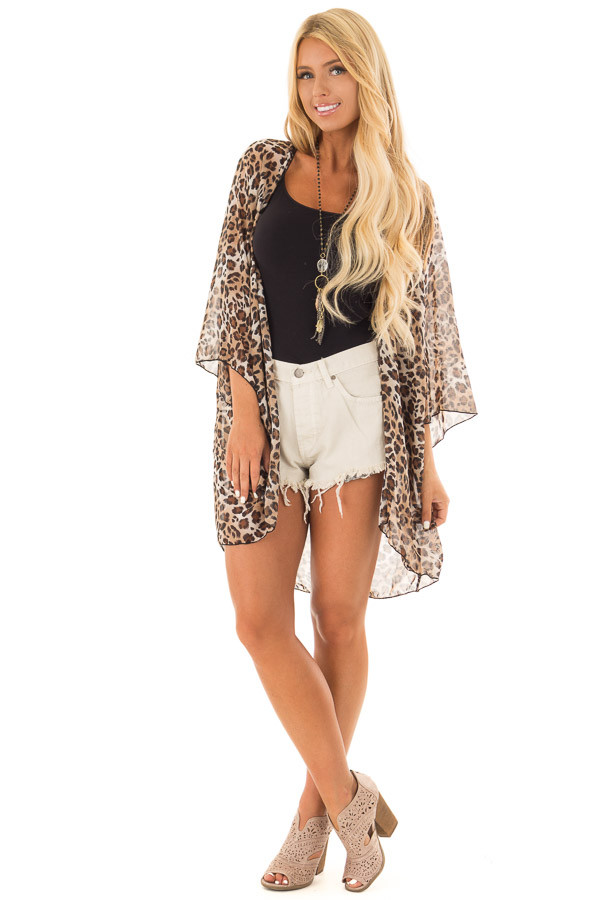 Brown Leopard Print Sheer Kimono front full body