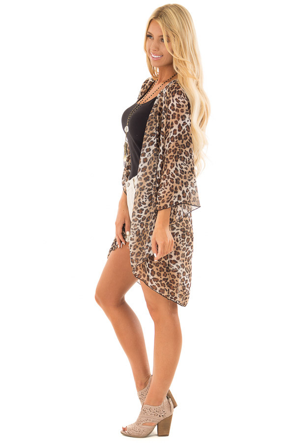 Brown Leopard Print Sheer Kimono side full body