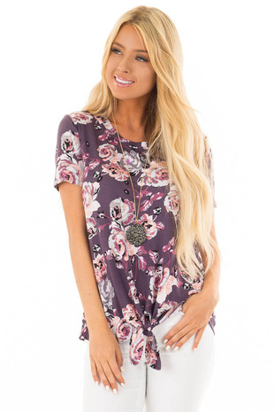 Plum Floral Print Tee Shirt with Front Tie front close up