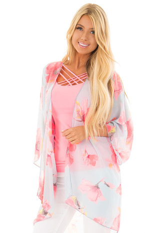 Light Blue Sheer Kimono with Bright Pink Floral Print front close up