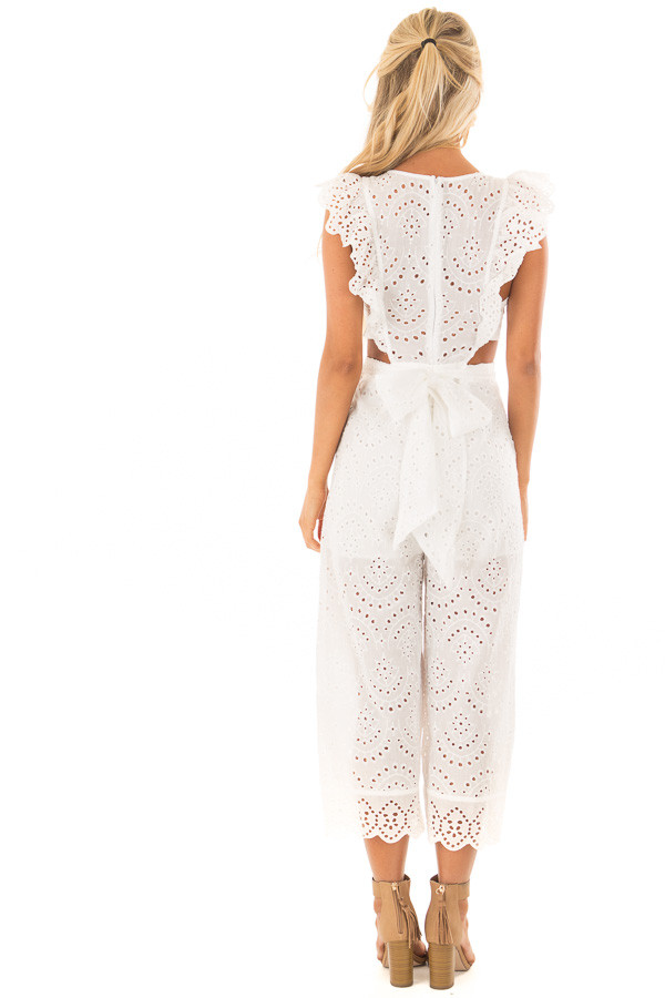 White Jumpsuit with Side Cut Outs and Flutter Sleeves back full body
