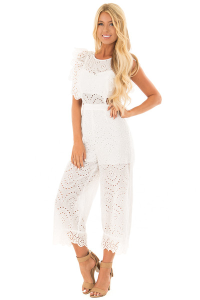 White Jumpsuit with Side Cut Outs and Flutter Sleeves front full body