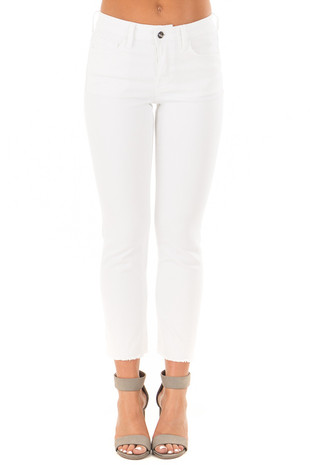 White Five Pocket Jeans with Fringe Hemline front view