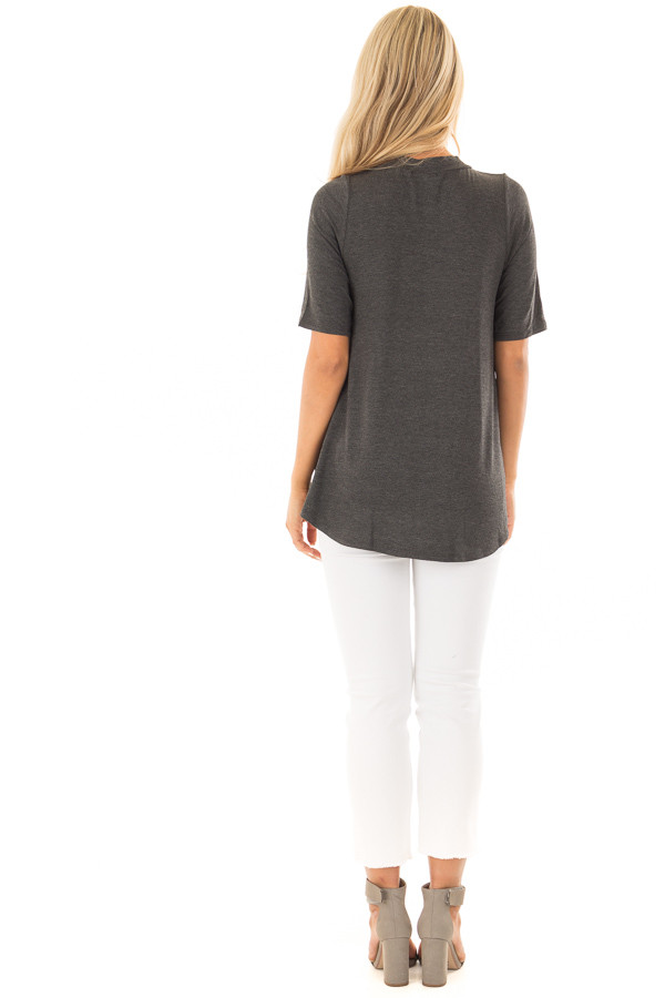 Charcoal Short Sleeve Top with Chest Cut Out back full body