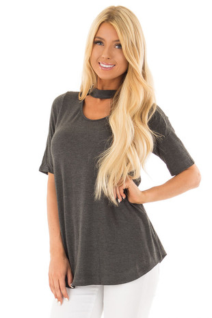 Charcoal Short Sleeve Top with Chest Cut Out front close up