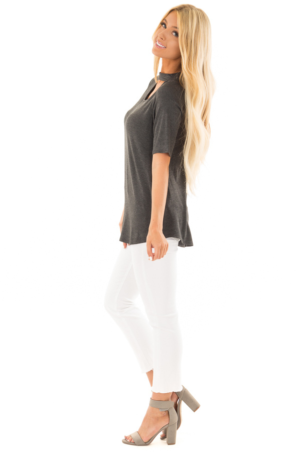 Charcoal Short Sleeve Top with Chest Cut Out side full body