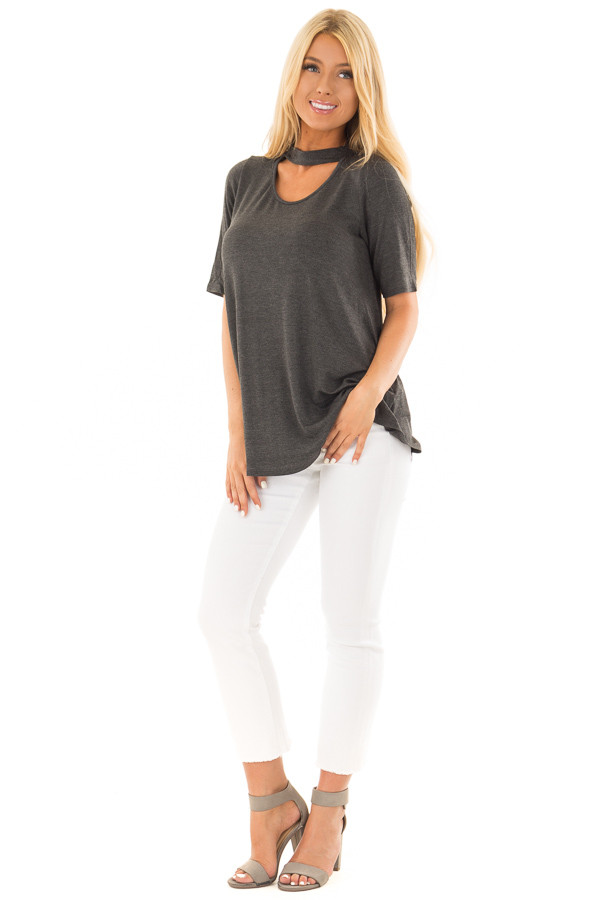 Charcoal Short Sleeve Top with Chest Cut Out front full body