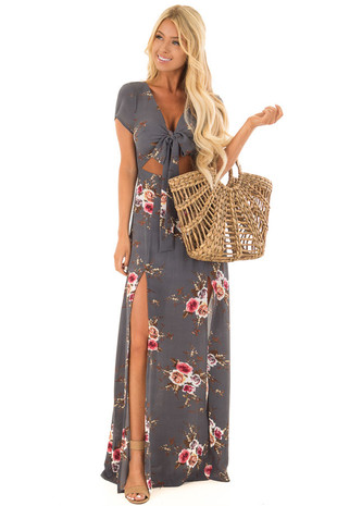 Steel Grey Floral Maxi Dress with Front Slits and Cut Out front full body