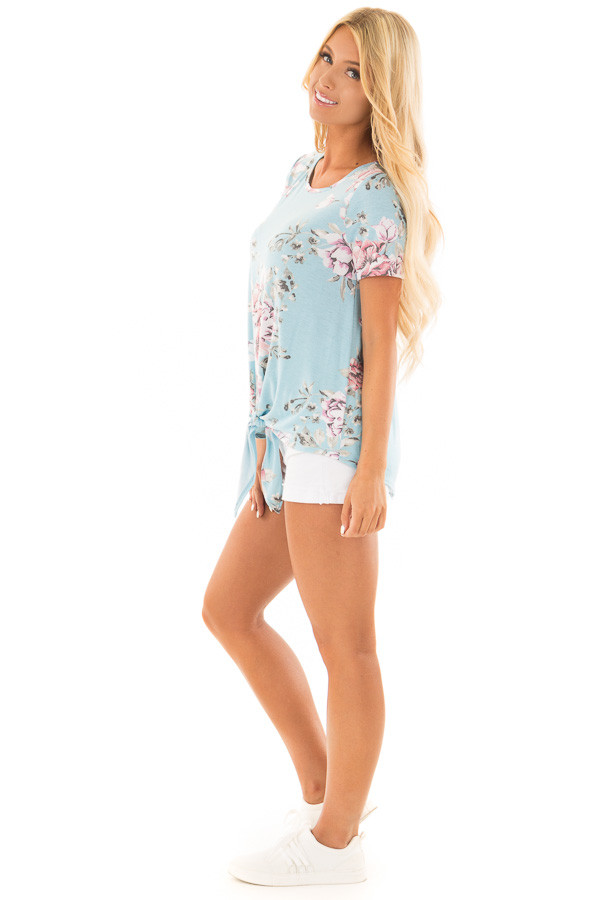 Light Blue Floral Print Tee Shirt with Front Tie side full body