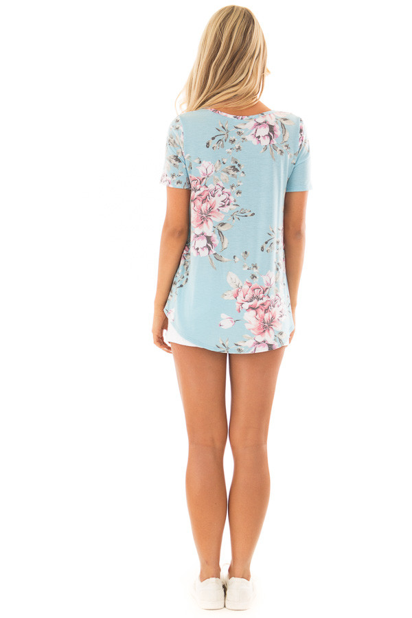 Light Blue Floral Print Tee Shirt with Front Tie back full body