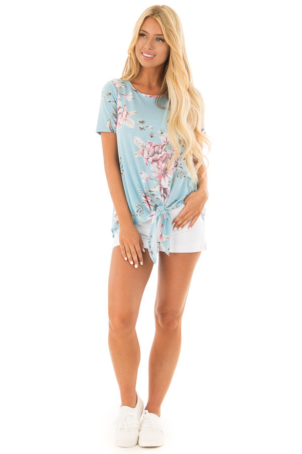 Light Blue Floral Print Tee Shirt with Front Tie front full body