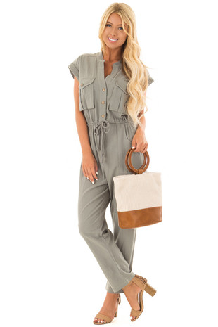 Olive Short Sleeve Jumpsuit with Pockets and Waist Tie front close up