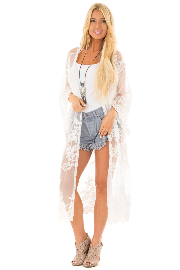 Ivory Long Sheer Floral Lace Kimono front full body