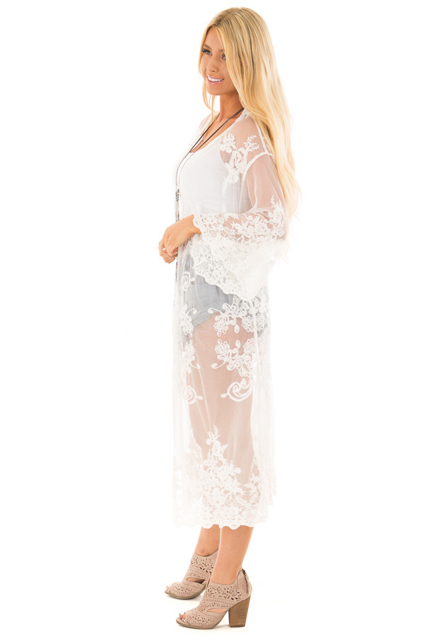 Ivory Long Sheer Floral Lace Kimono side full body