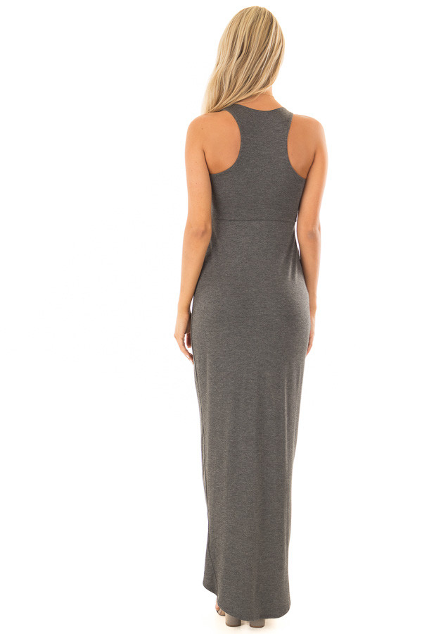 Charcoal Racerback Maxi Dress with Cross Over Skirt Detail back full body