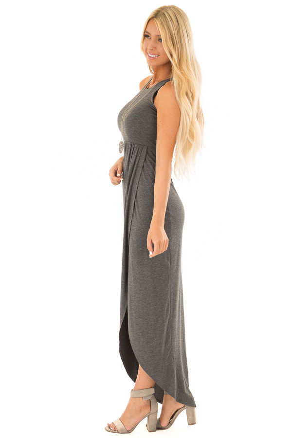 Charcoal Racerback Maxi Dress with Cross Over Skirt Detail side full body