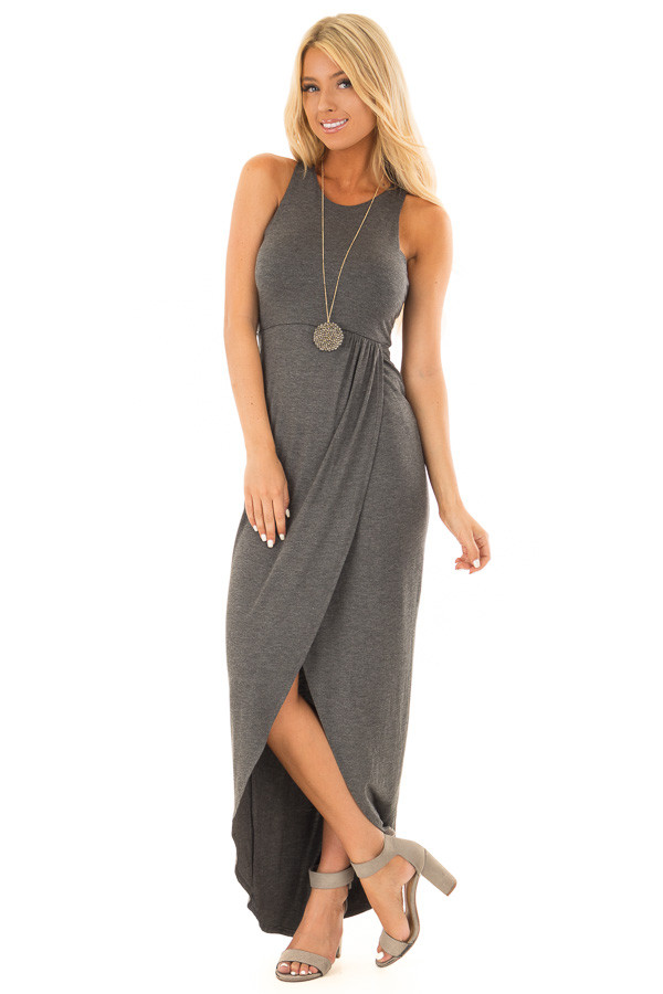 Charcoal Racerback Maxi Dress with Cross Over Skirt Detail front full body
