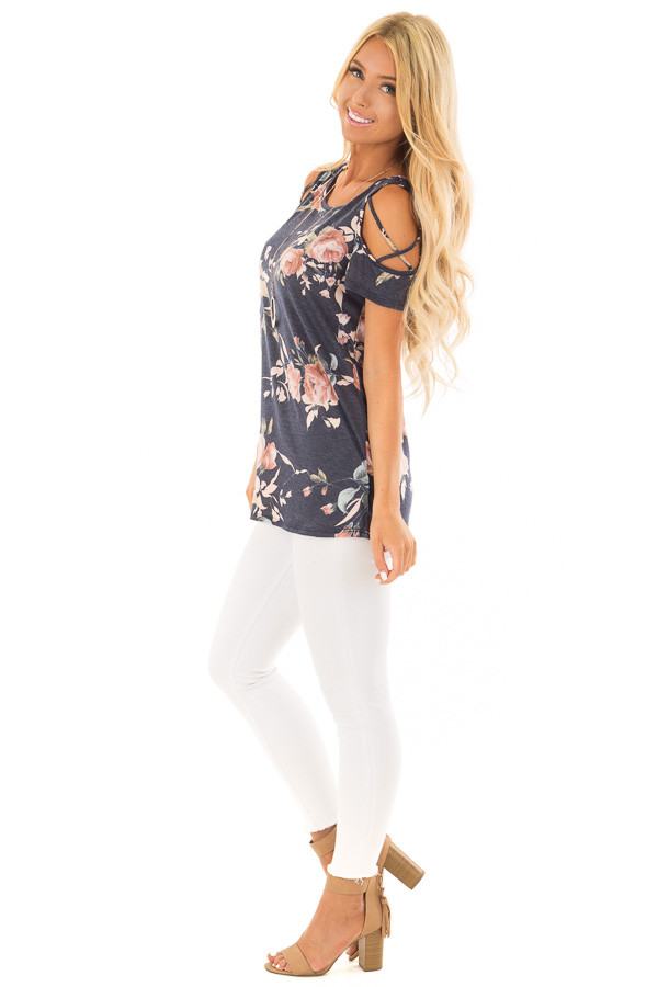 Navy Floral Print Tee Shirt with X Strap Cold Shoulders side full body