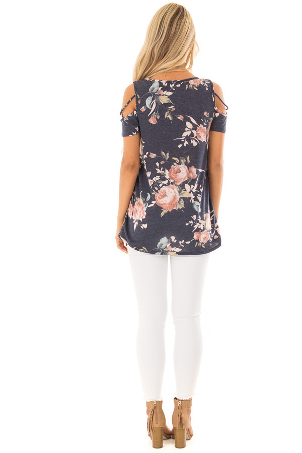 Navy Floral Print Tee Shirt with X Strap Cold Shoulders back full body
