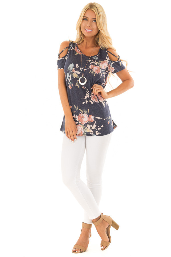 Navy Floral Print Tee Shirt with X Strap Cold Shoulders front full body
